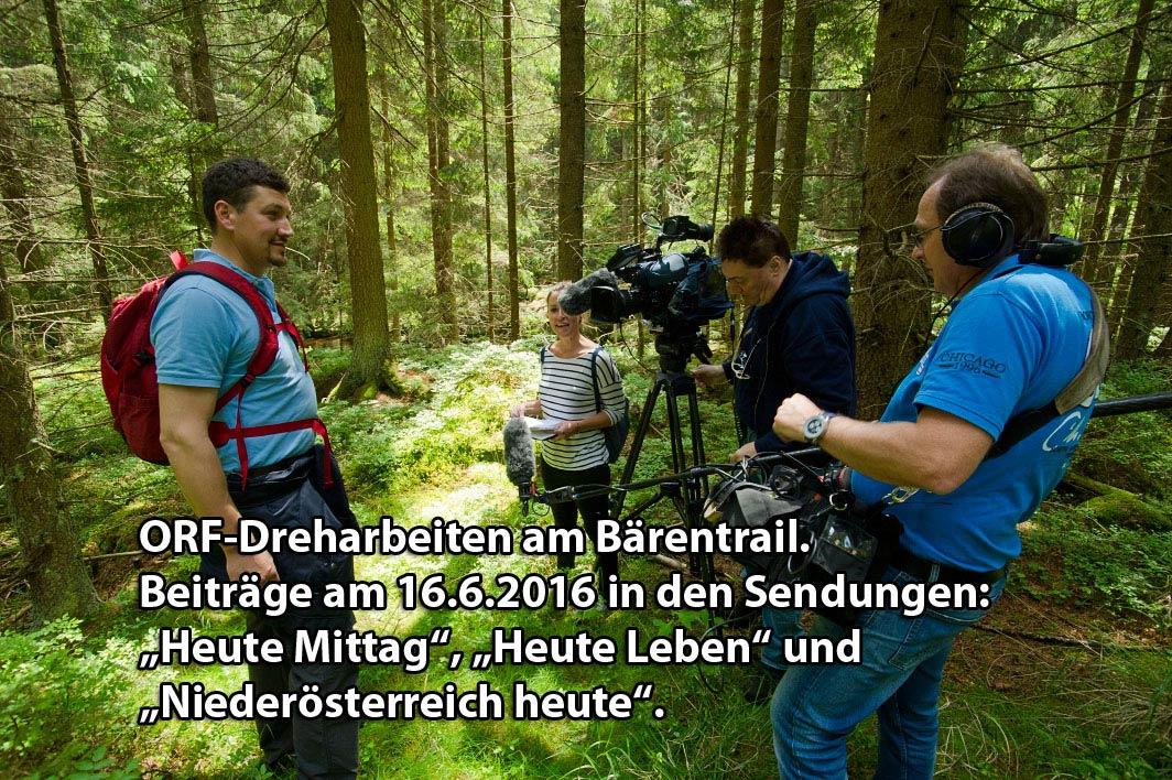 ORF Dreharbeiten am Bärentrail, Beiträge am 16.6.2016
