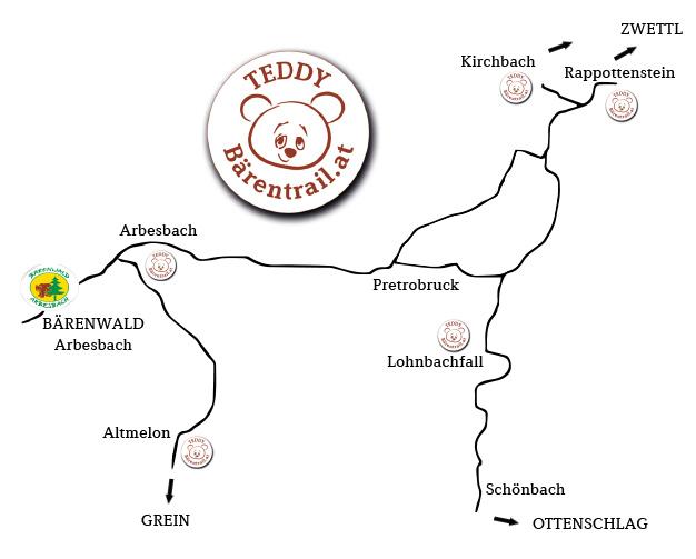 Überblick Straßenkarte Teddybärentrails
