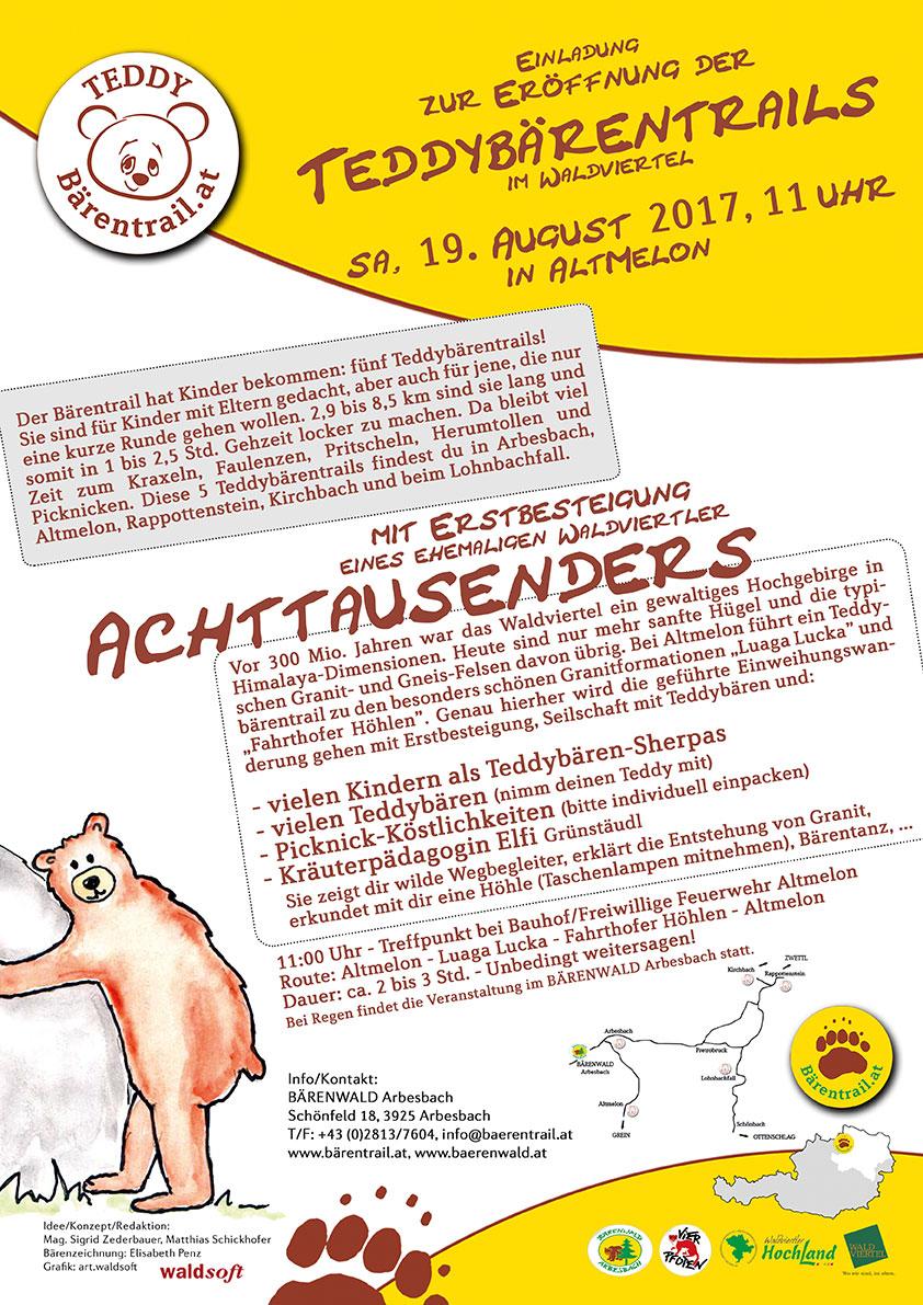 Einladung Eröffnung Teddybärentrail am 19.8.2017