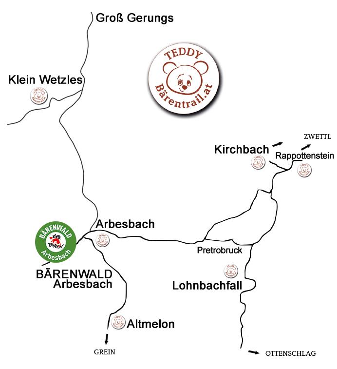 Karte Überblick Teddybärentrails Straßenkarte